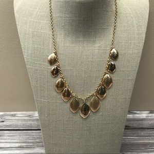 Jewelry - Gold tone hammered petal dangle necklace